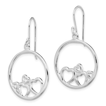 Sterling Silver Polished Open Hearts Circle Dangle Earrings