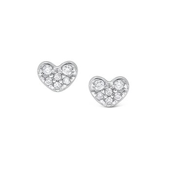 Diamond Heart Earrings in 14K White Gold with 12 Diamonds weighing .09ct tw.
