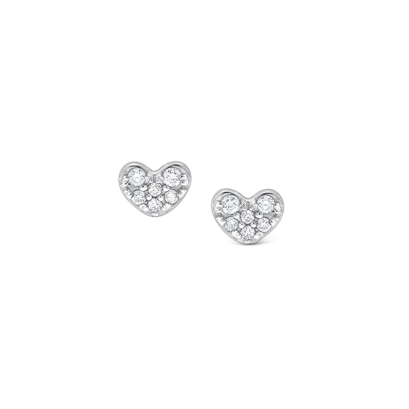 KC Designs Diamond Heart Earrings in 14K White Gold with 12 Diamonds weighing .09ct tw.