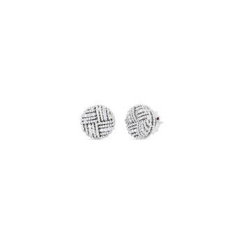18K WOVEN ROYAL OPERA ROUND STUD EARRING W. DIAMOND ACCENT