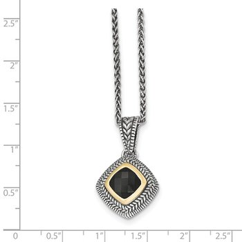 Sterling Silver w/14k Black Onyx Necklace