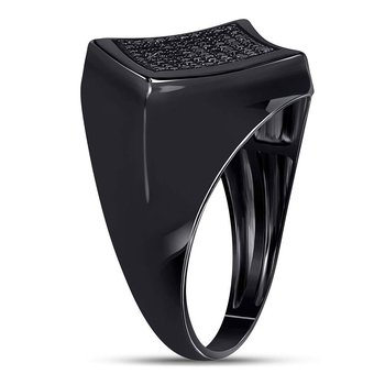 Sterling Silver Mens Round Black Color Enhanced Diamond Square Cluster Ring 1/3 Cttw