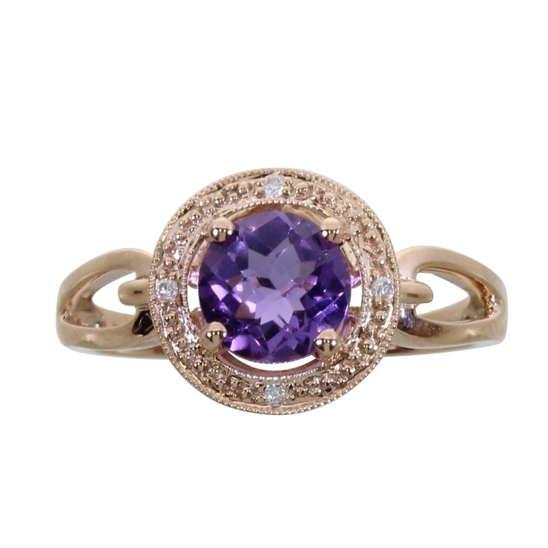 Color Merchants 14k Rose Gold Amethyst Fashion Ring