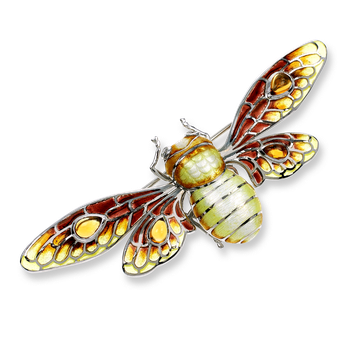 Sterling Silver Bee Brooch-Brown.  Diamonds, Citrine.