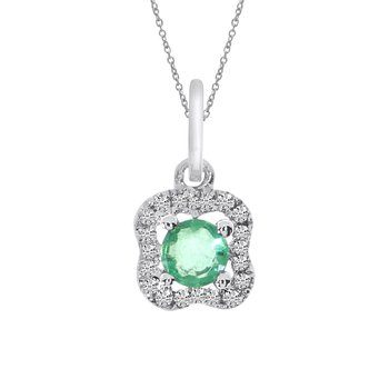14k White Gold Emerald and Diamond Pendant