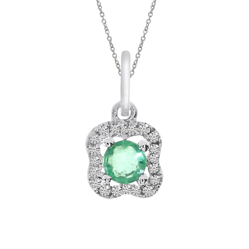 Color Merchants 14k White Gold Emerald and Diamond Pendant