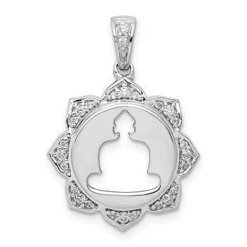 14k White Gold Diamond Buddha Pendant