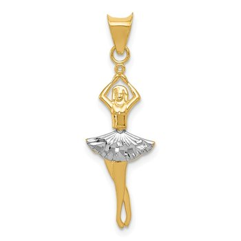 14K w/Rhodium Polished Moveable Dancer Pendant