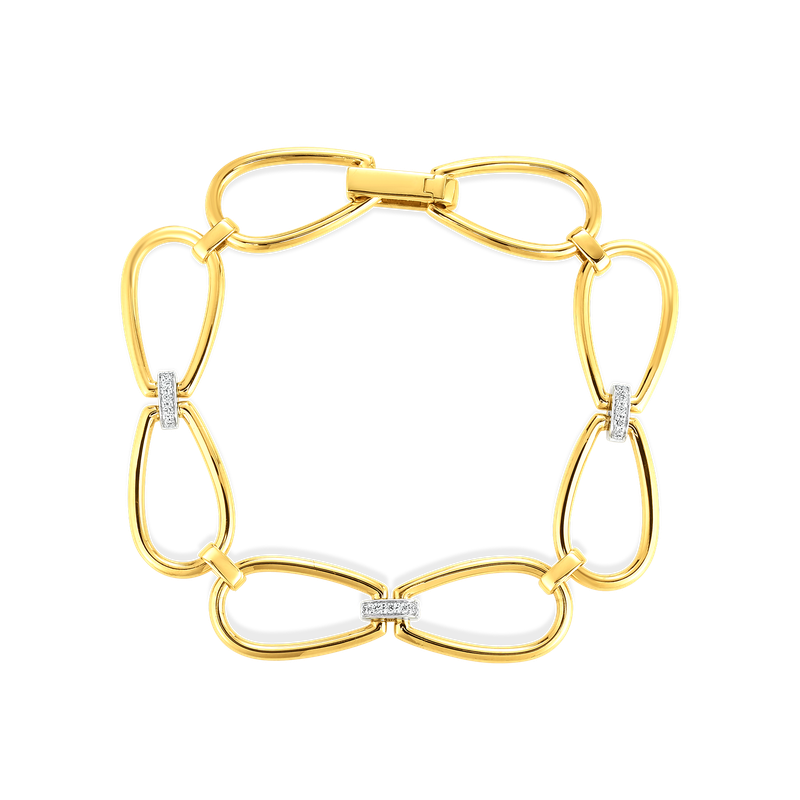 Roberto Coin 18K Stirrup Link Bracelet W. Dia Accent