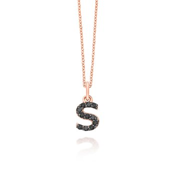"Black Diamond Baby Block Initial ""S"" Necklace"