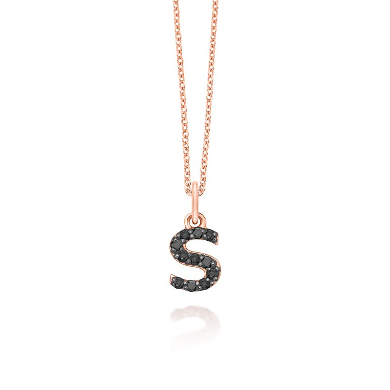 "KC Designs Black Diamond Baby Block Initial ""S"" Necklace"