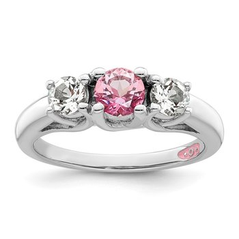Sterling Silver Survivor Clear & Pink Swarovski Topaz Pamela Ring