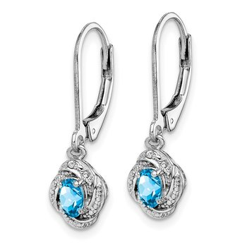 Sterling Silver Rhodium-plated Diam. & Blue Topaz Earrings