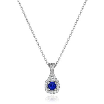 Truly Enamored Sapphire and Diamond Criss Cross Pendant