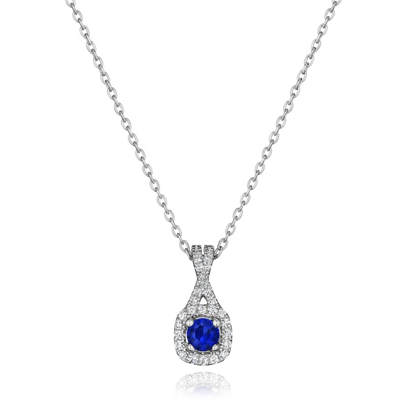Fana Truly Enamored Sapphire and Diamond Criss Cross Pendant