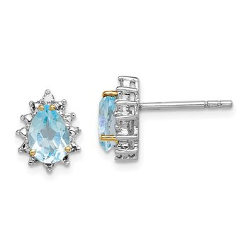 SS & 14k True Two-tone Sky Blue Topaz Diamond Earrings