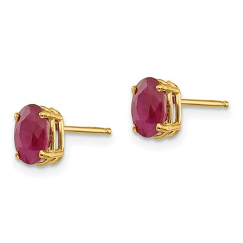 14k 6x4 Oval July/Ruby Post Earrings