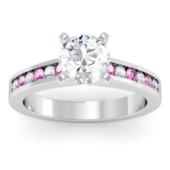 Channel set Pink Sapphire and Diamond Engagement Ring
