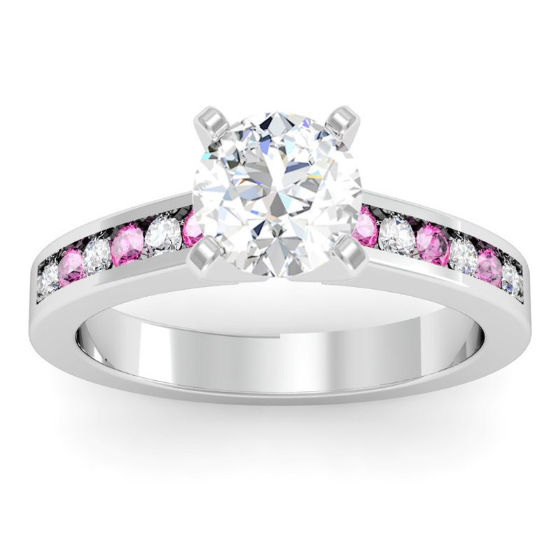 California Coast Designs Channel set Pink Sapphire and Diamond Engagement Ring