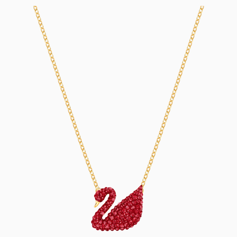 Swarovski Iconic Swan Pendant, Red, Gold-tone plated