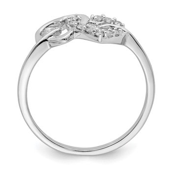 Sterling Silver Rhodium Diam. Double Heart Ring