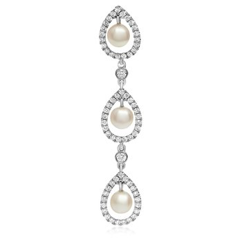 Triple Drop Pearl & Diamond Pendant