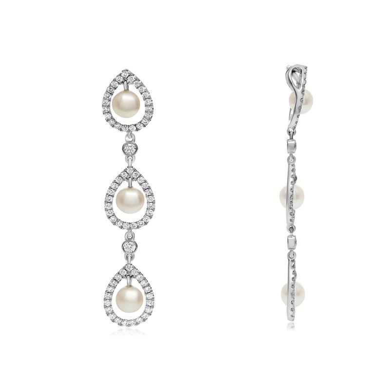 Roman & Jules Triple Drop Pearl & Diamond Pendant