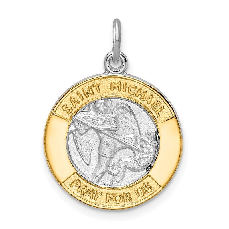 Quality Gold Sterling Silver Rhodium-plated & Gold Tone St. Michael Medal