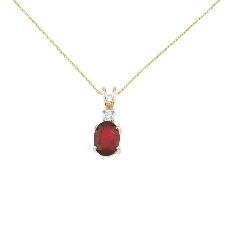 Color Merchants 14K Yellow Gold Oval Ruby & Diamond Pendant
