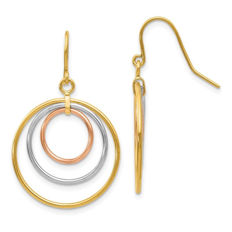 Quality Gold 14k Tri-Color Circle Dangle Earrings