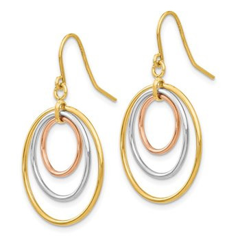 14k Tri-Color Circle Dangle Earrings