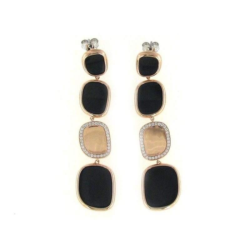 Roberto Coin 18KT GOLD EARRINGS WITH BLACK JADE AND DIAMONDS