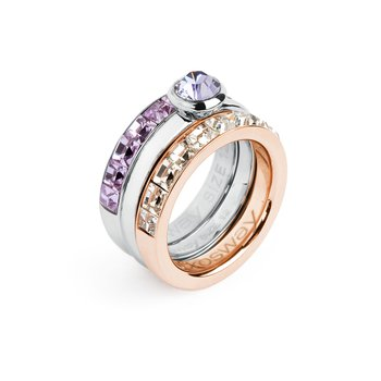 316L stainless steel, rose gold pvd, violet and tanzanite Swarovski® Elements.