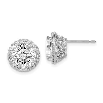 10K Tiara Collection White Gold Polished CZ Post Earrings