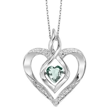 Diamond & Synthetic Aquamarine Heart Infinity Symbol ROL Rhythm of Love Pendant in Sterling Silver