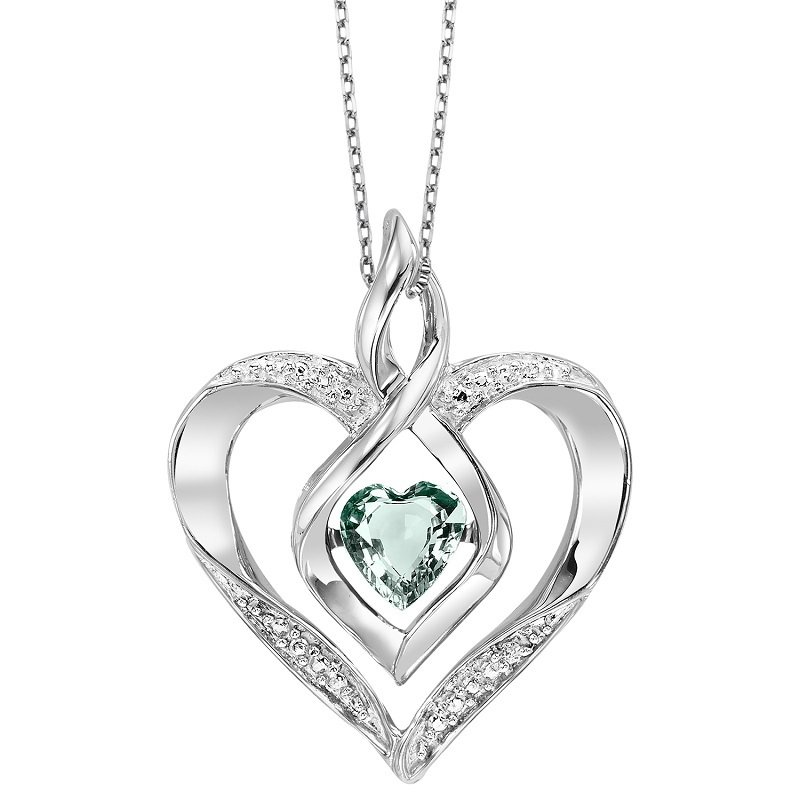 Gems One Diamond & Synthetic Aquamarine Heart Infinity Symbol ROL Rhythm of Love Pendant in Sterling Silver