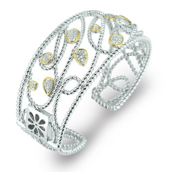 Sterling Silver and 14K Diamond Cuff