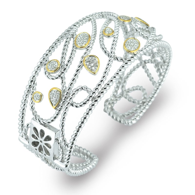 Shula NY Sterling Silver and 14K Diamond Cuff