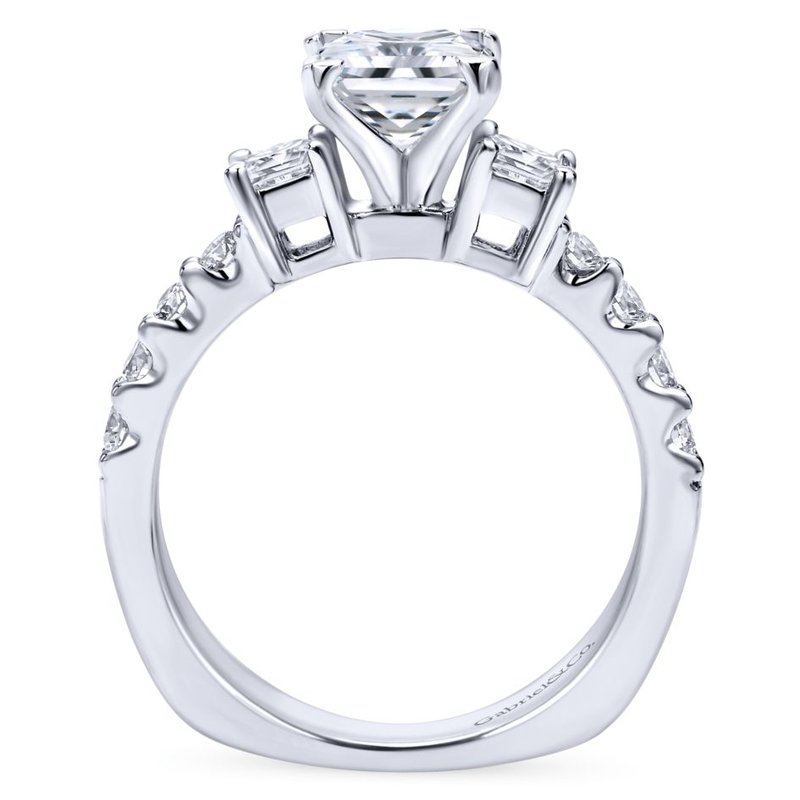 Gabriel Bridal 14K White Gold Princess Cut Three Stone Diamond Engagement Ring