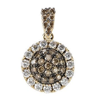 14ky Halo Brown Diamond Pendant