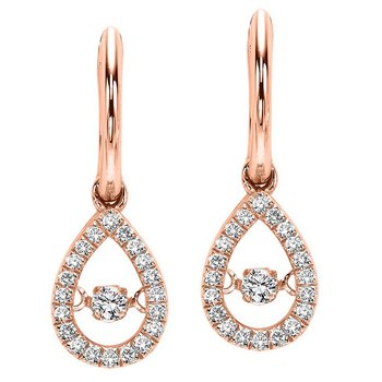 10K Rose Gold Diamond Rhythm Of Love Earrings 1/5 ctw