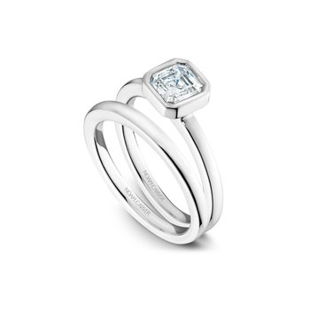 Bezel Set Asscher Solitaire Engagement Ring