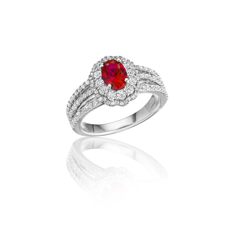 Fana With Love Ruby and Diamond Triple Row Split Shank Ring