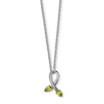 SS & 14k True Two-tone Peridot Diamond Necklace