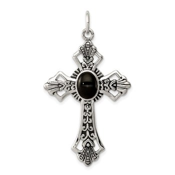 Sterling Silver Onyx Antiqued Cross Pendant