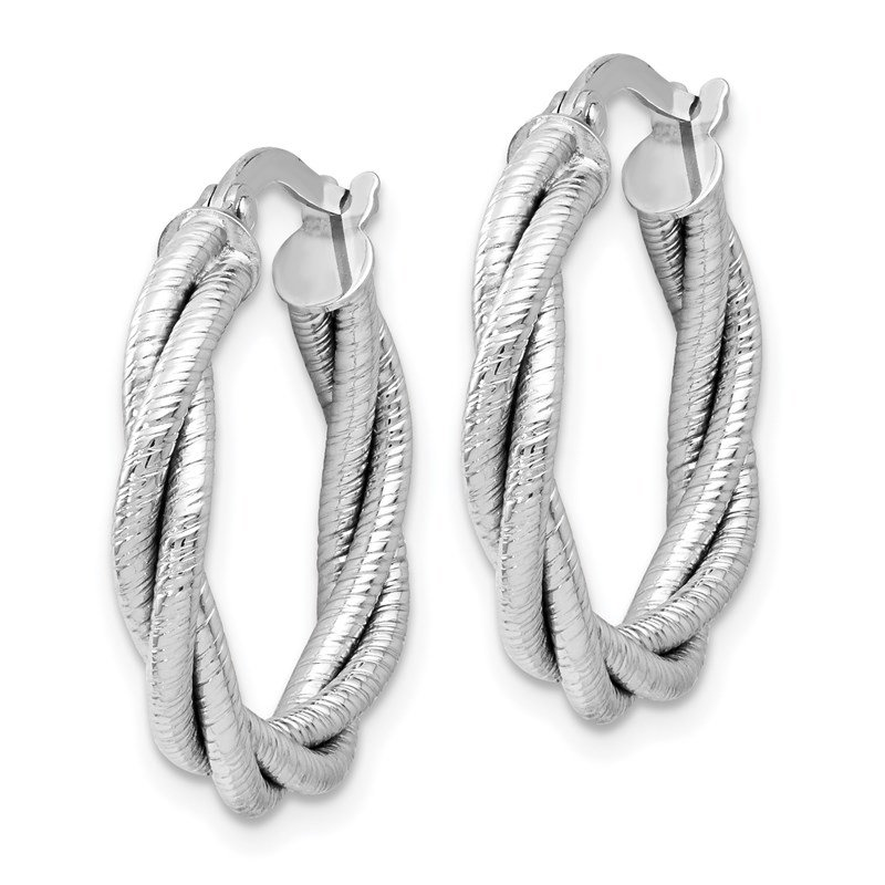 Leslie's Leslie's 14K White Gold Twisted Triple Twist Hoop Earrings