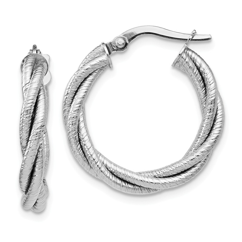 Perfect Jewelry Gift Leslies 14k White Gold Twisted Oval Hoop Earrings