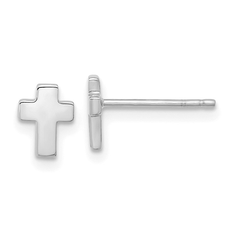 Quality Gold 14k White Gold Polished Cross Post Earrings