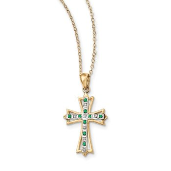 SS Diamond Mystique Gold-plated Dia/Emerald 18in Cross Necklace