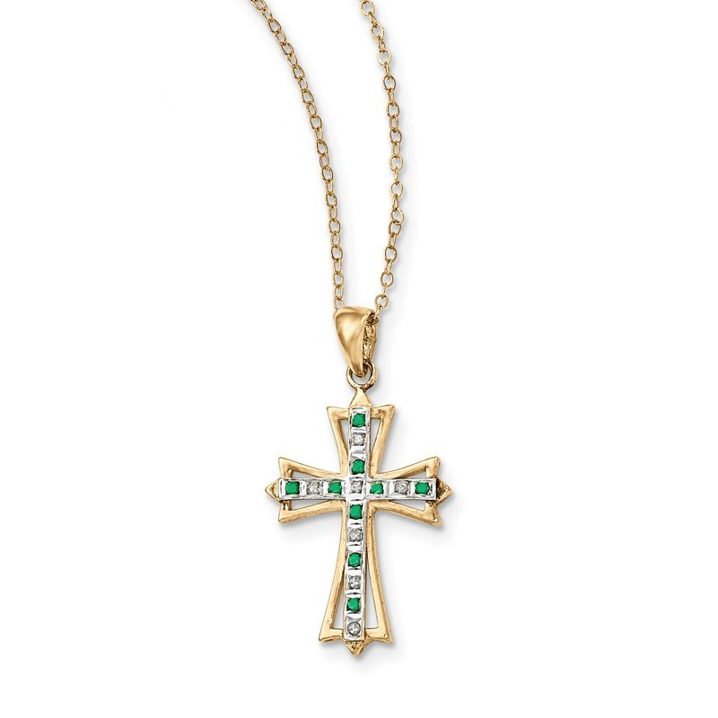 Quality Gold Sterling Silver & Gold-plated Dia. & Emerald 18in Cross Necklace